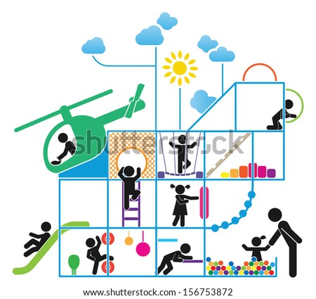 Children play on playground. Pictogram icon set - stock vector