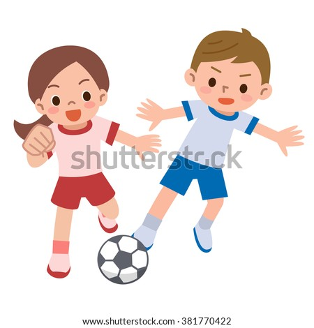 Children play soccer - stock vector
