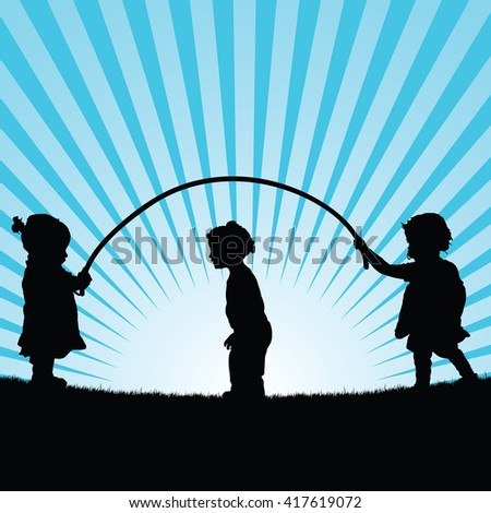 children play with rope silhouette illustration in blue - stock vector