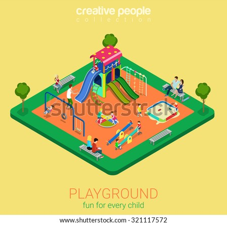 Children playground flat 3d isometric infographics concept. Sandpit swing slide rocker carousel rope ladder bench info graphics objects. Creative people collection. - stock vector
