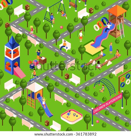 Children playground illustration with isometric park equipment vector illustration
