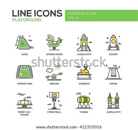 Children playground line design icons set - stock vector