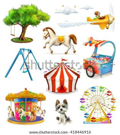 Children playground, vector icons set - stock vector