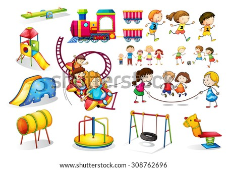 Children playing and playground set illustration - stock vector