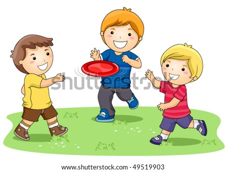 Children playing Frisbee in the Park - Vector - stock vector