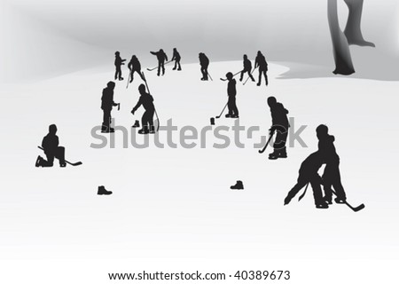 children playing hockey on a frozen lake - stock vector