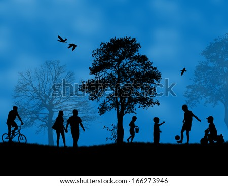 Children playing in a park on blue sunset, vector illustration - stock vector