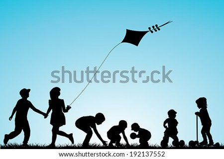 Children playing in the park - stock vector