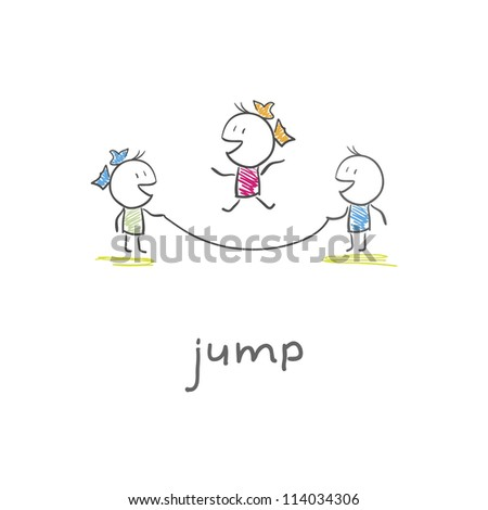 Children playing jumping rope - stock vector