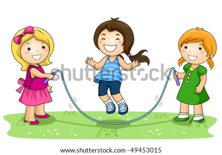 Children playing jumping rope in the Park - Vector - stock vector