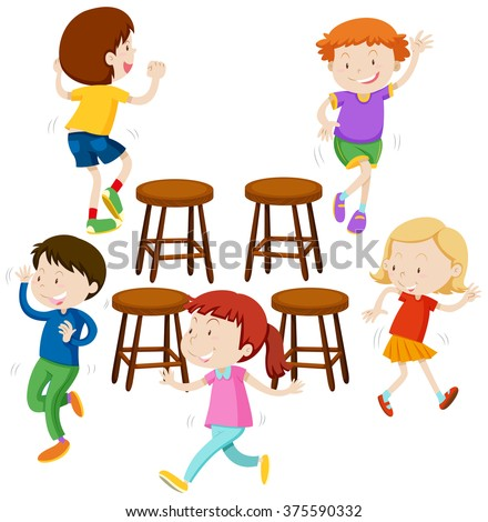Children playing music chairs illustration - stock vector