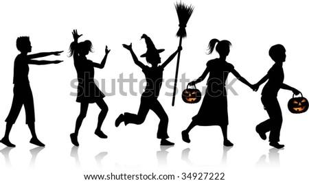 Children playing on Halloween night - stock vector
