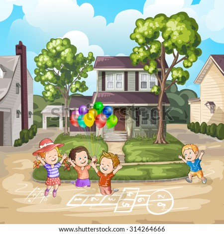 Children playing on the driveway in front of house - stock vector