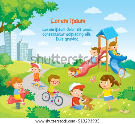 Children Playing Outside Stock Vector Royalty Free