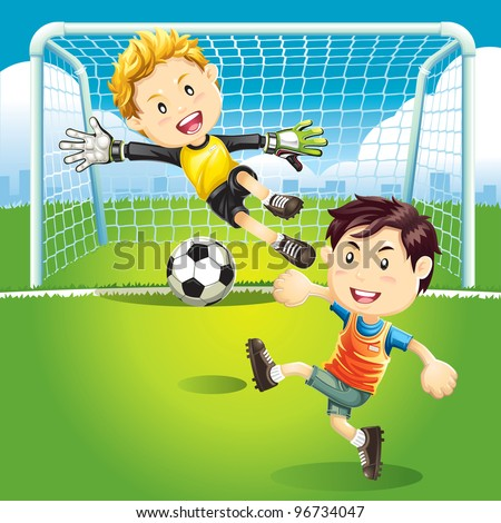 Children playing soccer outdoors - stock vector