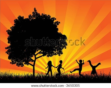 Children playing - vector