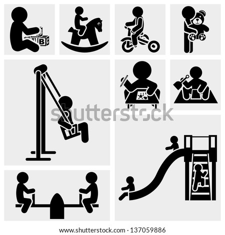 Children Playing vector icon set. - stock vector