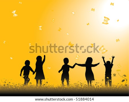 Children playing. Vector illustration