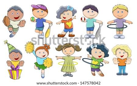 Children Playing - Vector Illustrations - stock vector