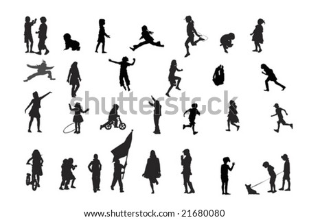 children playing, vector silhouettes collection - stock vector