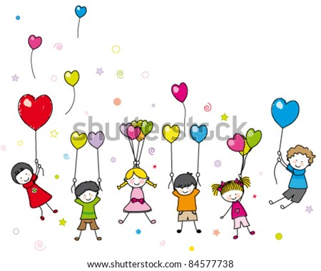 children playing with balloons. Blank space for text - stock vector