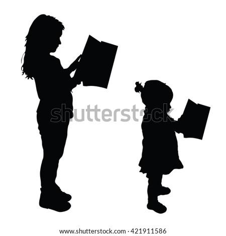 children read book silhouette illustration in black - stock vector