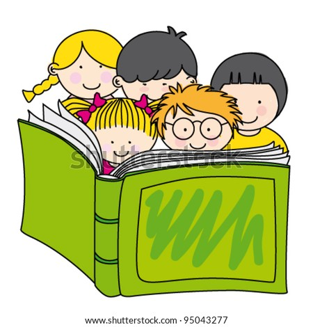 children reading a book - stock vector