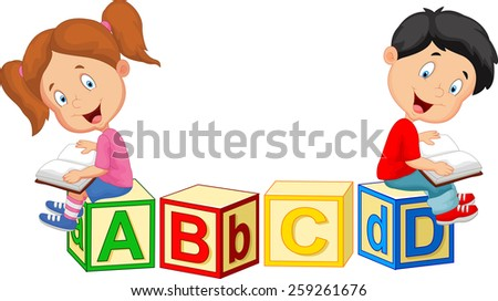 Children reading book  - stock vector