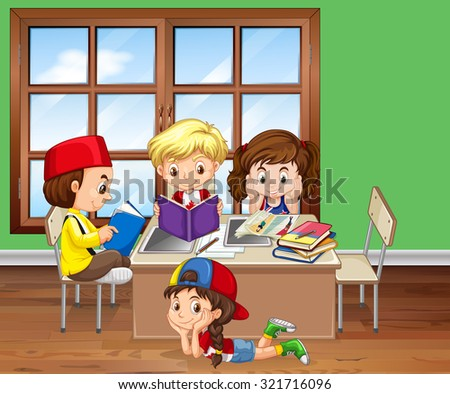 Children reading books in the classroom illustration - stock vector