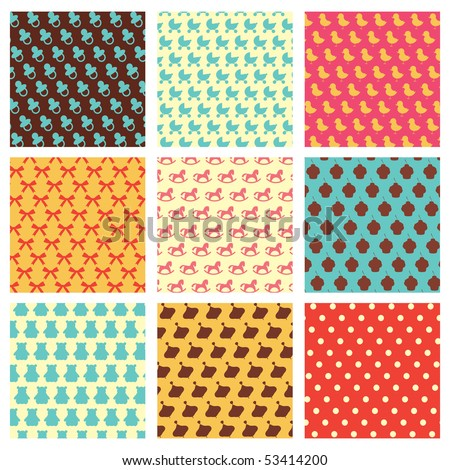 Children retro patterns - stock vector