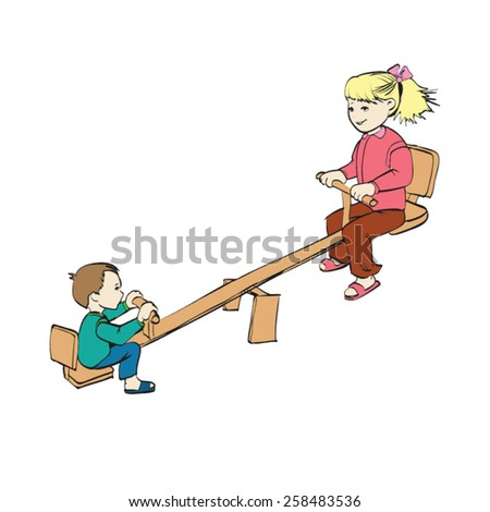 children ride on a swing vector - stock vector