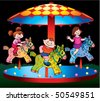 Children ride on the carousel. Vector art-illustration on a black background. - stock photo