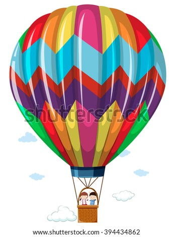 Children riding in the hotair balloon illustration