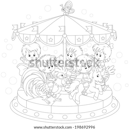 Children riding on a funny carousel - stock vector