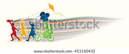 Children running, Friendship with line rainbows movement graphic  - stock vector