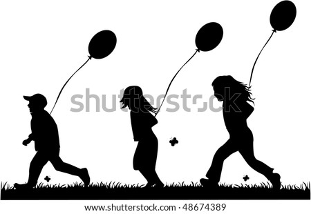 children running with balloons - vector - stock vector