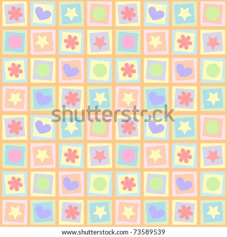 Children's abstract background with squares and figures of different colors - stock vector