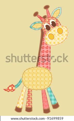 Children's application. Giraffe. Patchwork series. Vector illustration. - stock vector