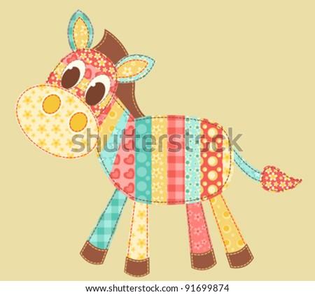 Children's application. Zebra. Patchwork series. Vector illustration. - stock vector