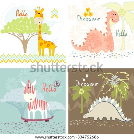 children's art greeting card with cartoon animals - stock vector