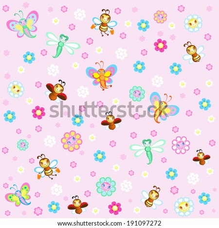 Children's background with pretty insects - stock vector