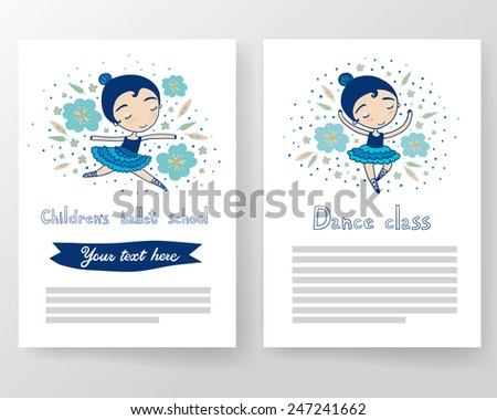 Children's ballet school pages. - stock vector