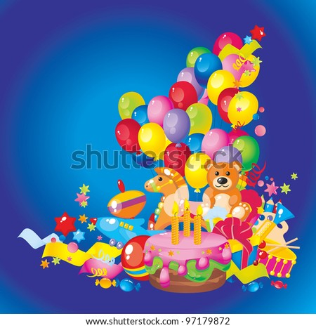 Children's birthday: toys, birthday cake, balloons and gift boxes - stock vector