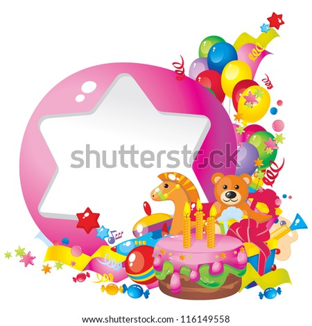 Children's birthday: toys, birthday cake, balloons, gift boxes, and  Frame for your text congratulations