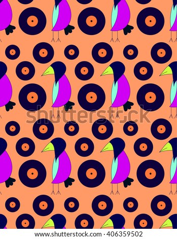 Childrens bright cute pattern crow dj stock vector for Bright childrens fabric