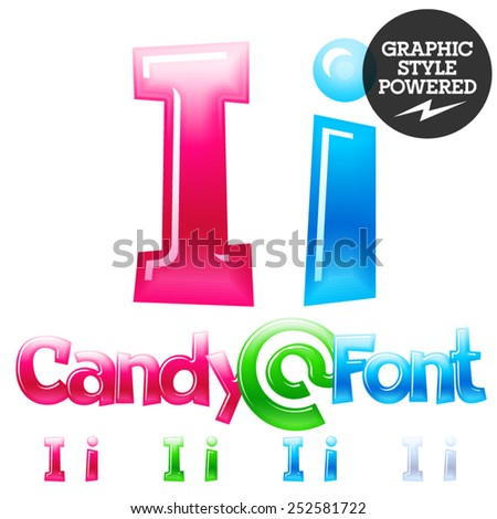 Children's candy font. Set of vector symbols. Letter I - stock vector