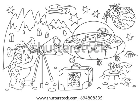 Childrens Coloring Book Cartoon Alien On Stock Vector 694808335 ...