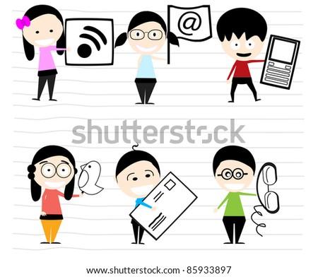 children's communication team - stock vector