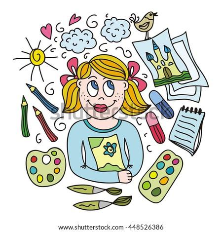 Children's creativity. Vector illustration. - stock vector