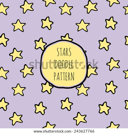 children's cute seamless pattern in doodle childish style with yellow stars on purple background. Hand drawn background vector illustration - stock vector